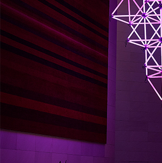 Purple light art installation
