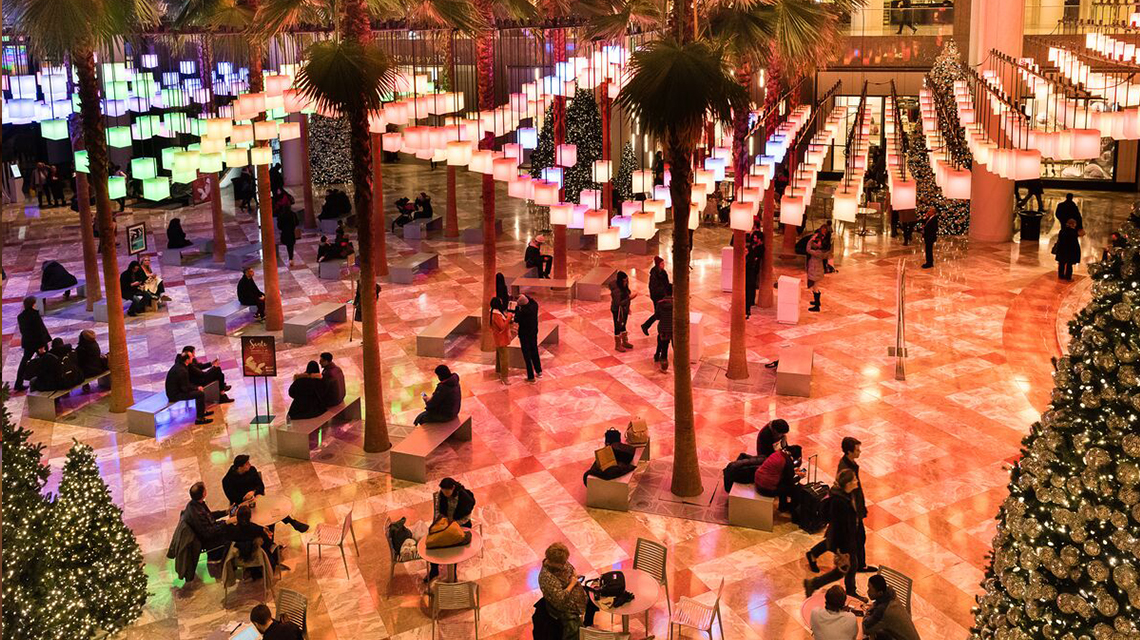 Visitors sit in the Winter Garden under lights