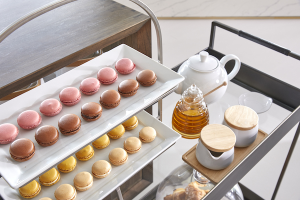 A display of colorful macarons