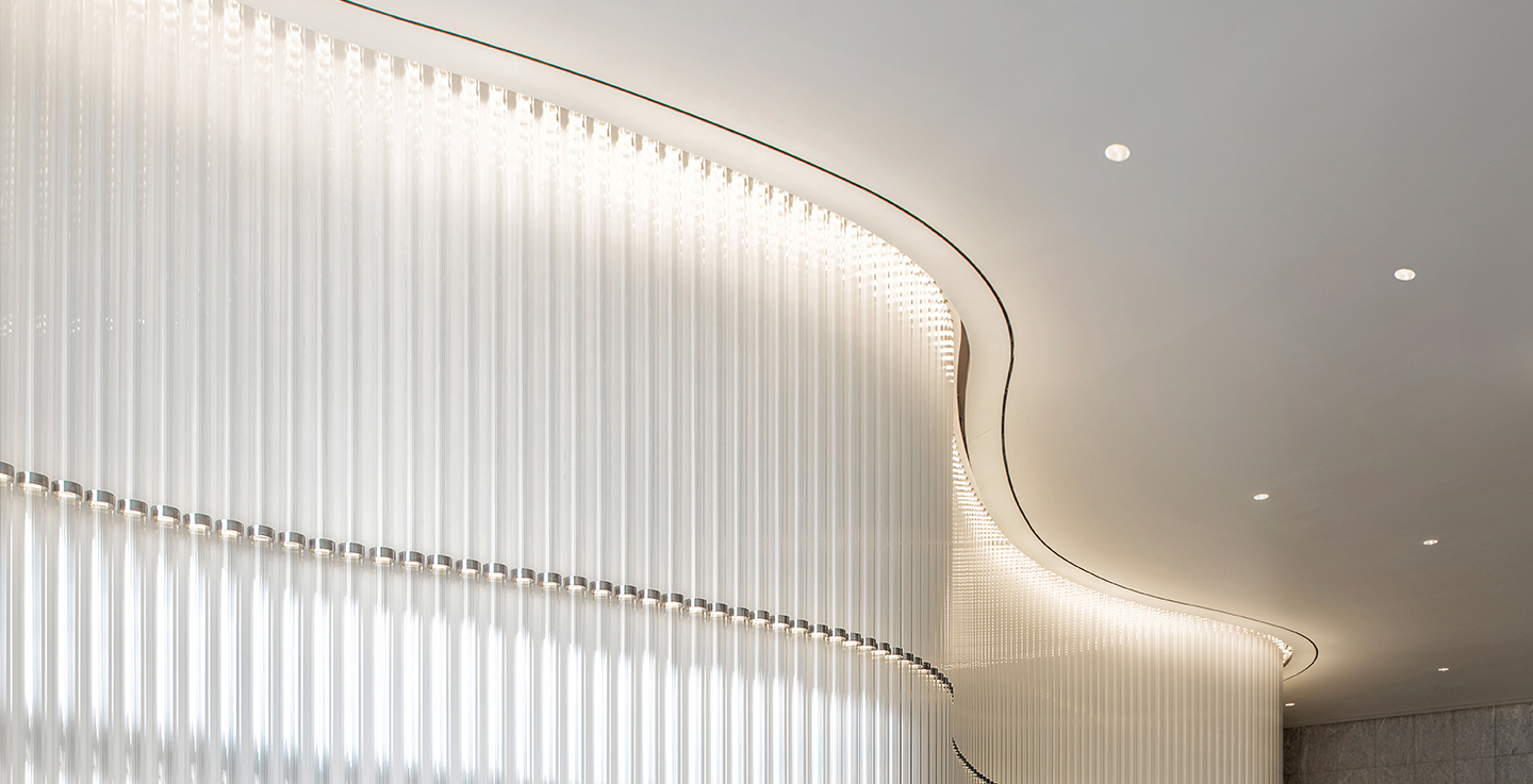 Wavy lighting display in a lobby