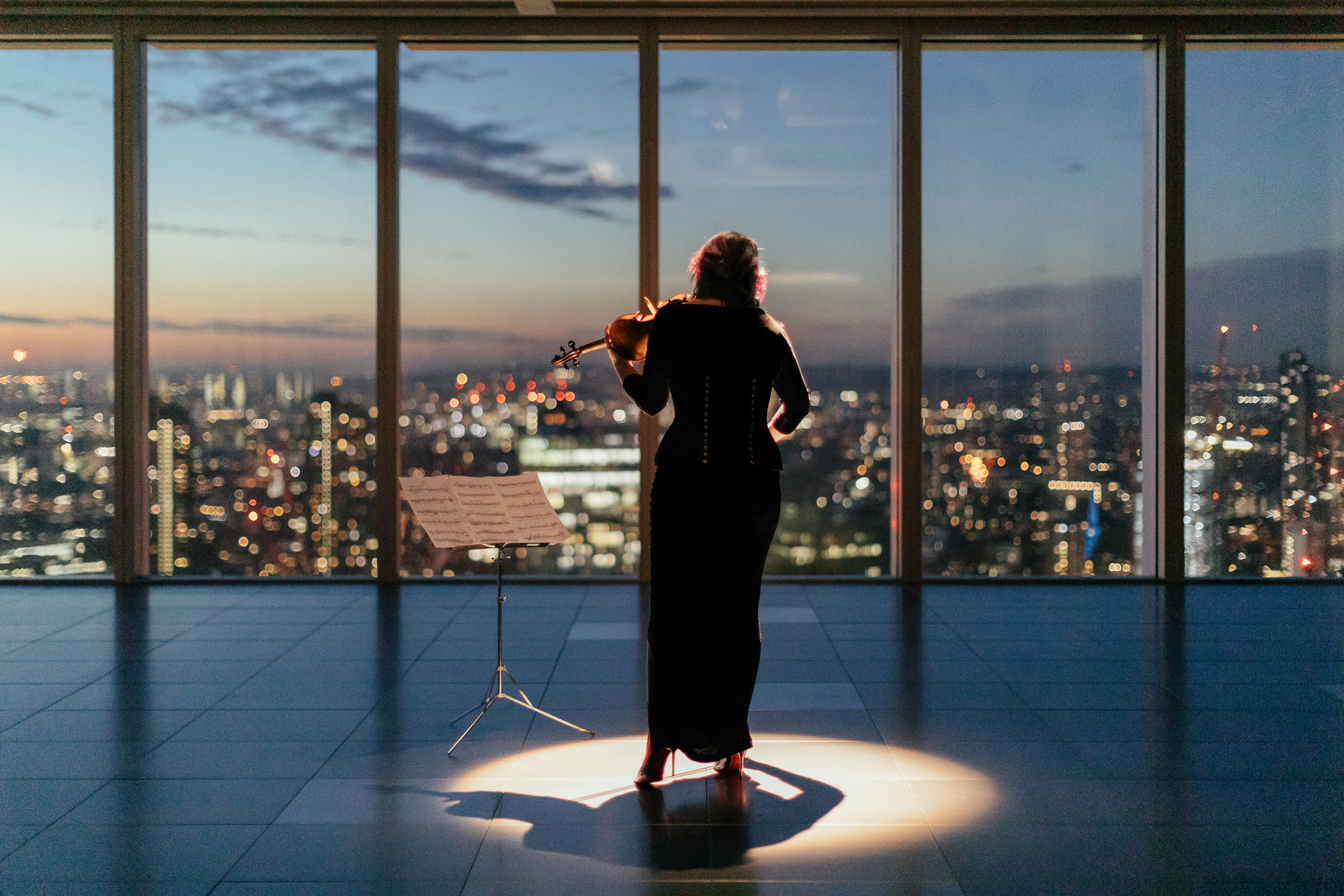 Woman playing violin in front of floor-to-ceiling windows