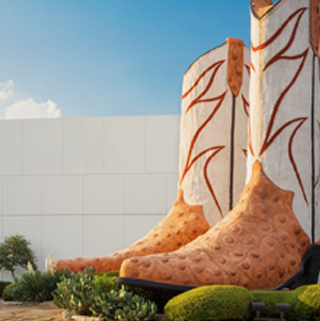large western boots statue
